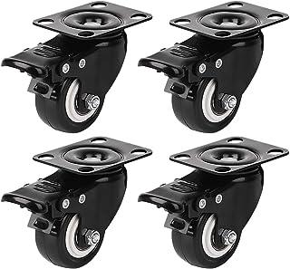"""Caster Wielen, Dedoot 4 Pack 2 """"Heavy Duty Casters met 360 graden bovenplaat, vergrendeling wielen zwenkwielen voor meubel..."""