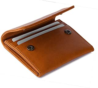 DailyObjects Tan Leather Flip Top Women's Card Wallet, Colour-Multicolor, Size- 2.75x.25x4.5 Inch