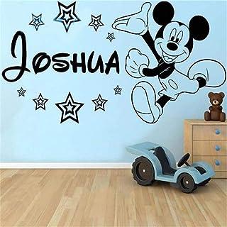 pegatinas decorativas pared Etiqueta de la pared de Mickey Mouse Etiqueta de la pared de vinilo de Mickey Mouse, nombre personalizado con Stars Boys Wall Art Pegatina Etiqueta de la pared