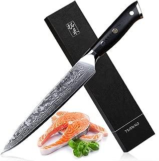 TURWHO 8 inch Slicing Knife - Japanese 67 Layer VG-10 Damascus Steel - Kitchen Carving Sashimi Sushi Knife with Ergonomic G10 Handle