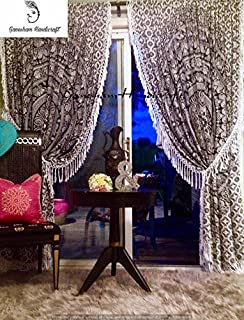 Indian Mandala Tapestry Gypsy Home Decor Window Treatments & Panel Set Bohemian Curtain Room Divider Blackout Balcony Sheer Wall Hanging Tapestry Curtain Indian Drapes Curtain (1)