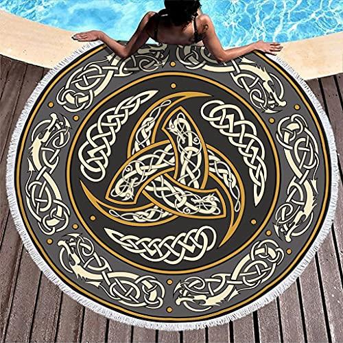 MINNOMO Toalla de playa redonda grande con borlas vikingas triples cuerno de Odin dragón celta impresión año redondo tapiz blanco 150 cm