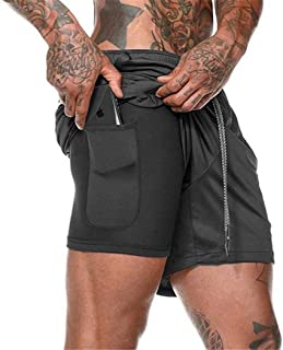 Men 2-in-1 Workout Shorts Gym Training Running Shorts Athletic Fitness Pants
