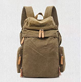 PANFU-AU Unisex Casual College Bag Hiking Bag 15-inch Laptop Business Backpack Canvas Rucksack Canvas Backpack Vintage Outdoor Rucksack Laptop Backpack (Color : Brown)