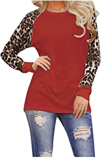 Aubbly_clothes Xiaoa Womens Autumn Winter Leopard Blouse Long Sleeve Fashion Ladies T-Shirt Oversize Round Neck Top S-5XL