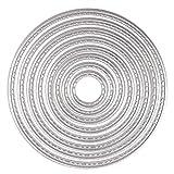 8PCS Fustelle Stencil Cutting Dies, U-horizon Matrici di taglio Cercle per DIY scrapbooking, album fotografico, carta decorativa, fai da te, regalo (Cerchio)