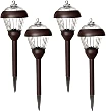 Solpex Outdoor Solar Path Lights, Glass and Powder Coated Cast Aluminum Metal, 2 Bright LEDs per Light 6 Lumens Output per LED, Easy No Wire Installation, Waterproof, Bronze