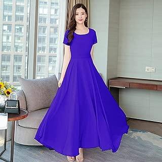 ABDKJAHSDK 2019 Summer New High Quality Large Size M-3Xl Bohemian Round Neck Flower Print Ladies Long Chiffon Dress