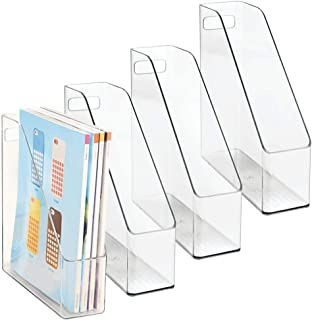 mDesign Plastic File Folder Bin Storage Organizer - Vertical with Handle - Holds Notebooks, Binders, Envelopes, Magazines - Container for Home Office and Work Desktops - 4 Pack - Clear