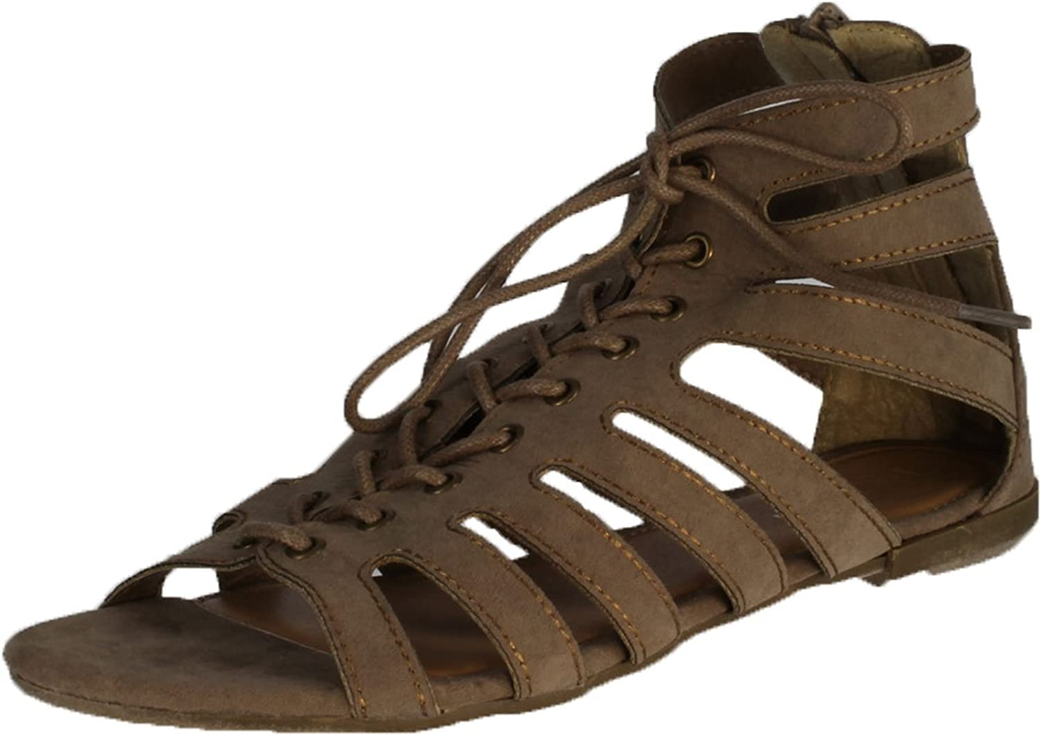 Refresh Womens Solo-01 Single Sole Cage Strappy Lace Flat Bootie Gladiator Sandal
