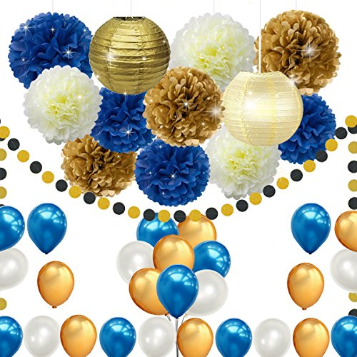45pcs DIY Navy Blue Gold Party Decorations Supplies Blue Birthday Baby Shower Pary Decor Blue Gold Cream Paper Pom Poms Lanterns Balloons Dot Paper Garland Wedding, Bridal Shower Festival Party Decor