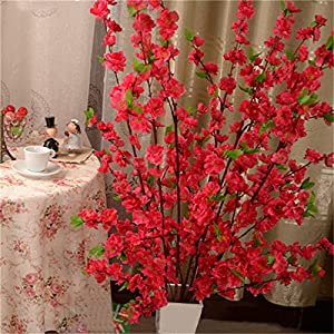 Pumpumly 1Pcs Artificial Peach Blossom Simulation Silk Cherry Blossom Branches Simulation Flowers for Wedding Home Christmas Indoor Outdoor Decorative