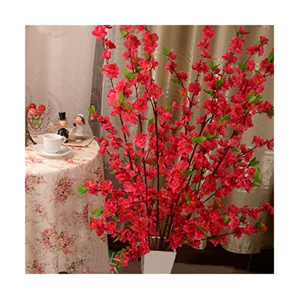 GREENWISH 12 Pcs Artificial Peach Blossom Trees Spring Cherry Plum Blossom Branches Silk Flowers, Tall Fake Indoor Outdoor Floral Arrangements for Wedding Home Office Party Hotel Yard Decoration