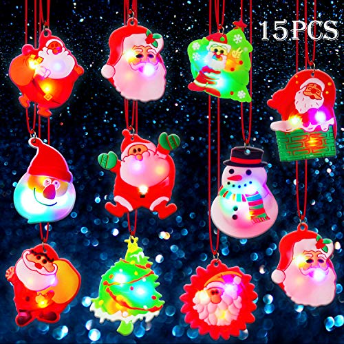 BUDI 15Pc Christmas Gifts LED Necklaces Party Favors For Kids/Adults Christmas Stocking Stuffers Decorations with Gift Wrap