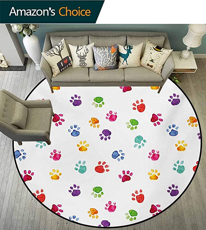 RUGSMAT Colorful Modern Machine Round Bath Mat Hand Painted Illustration Of Animal Footprints Cute Vibrant Artwork In Watercolors Non Slip No Shedding Kitchen Soft Floor Mat Diameter 35 Inch