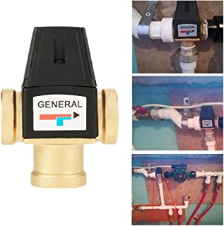 Thermostatic Mixing Valve,Hot 3 Way DN20 Female Thread Brass Thermostatic Mixing Valve for Solar Water Heater Functional Brass Plastic