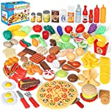 Shimfun Play Food Set, 130pc Play Food for kids & Toddlers Kitchen Toy Playset. Pretend Play Fake Toy Food, Play Kitchen Accessories with Realistic Colors, Detail for Fun & Education. Best Gift Choice