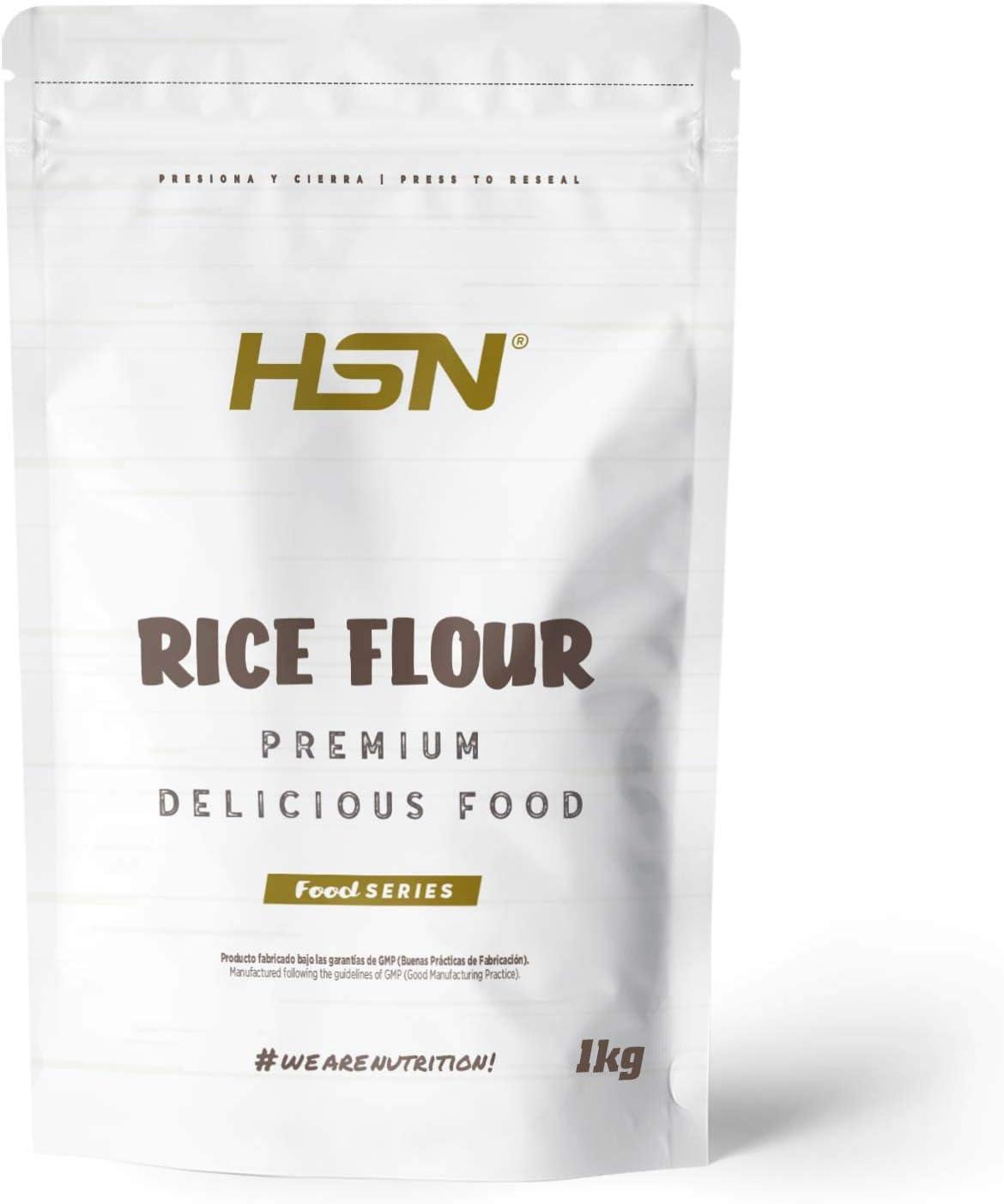 Harina de Arroz de HSN | Rice Flour | Energía Saludable 100% Natural | Formato de Finísima Textura en Polvo | Vegana, Sin Gluten, Sin Lactosa, Sin Soja, Sin Sabor, 1 Kg