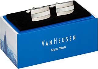 Van Heusen Men's Cufflinks Pearl Stripe, Silver