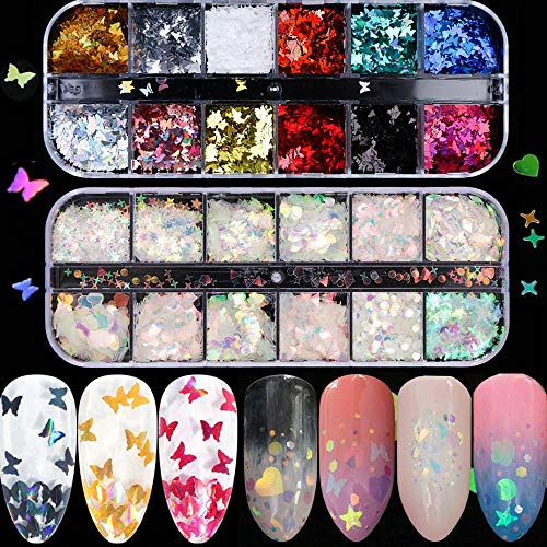 Butterfly Nail Sequins Butterfly Nail Art Stickers Nail Decals Accessories Decorations Laser Charm Glitter Butterfly Decals Holographic Butterfly Star Heart Nail Art Foil Flakes, 2 Box