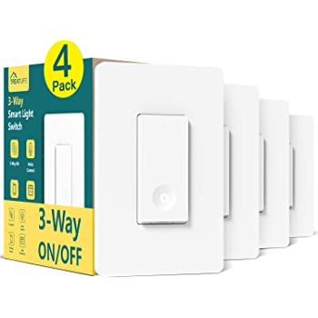 3 Way Smart Switch 4 Pack, Neutral Wire Required, Treatlife Smart Home WiFi Light Switch Works with Alexa and Google Assistant, Remote Control, ETL, Schedule, No Hub Required
