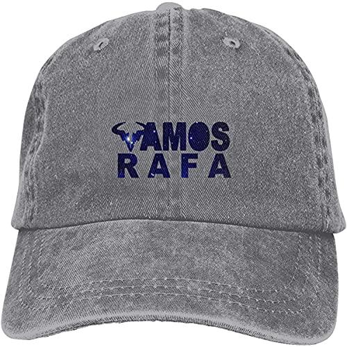 Yaxinduobao Unisex Vamos Rafa Sombrero de Vaquero Retro Gorra de béisbol Deportiva Sombrero de algodón clásico Ajustable para Adultos para Hombre Mujer Gris