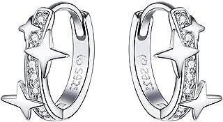Star Cubic Zirconia Huggie Hoop Earrings for Women Teen Girls Sterling Silver Constellation Cartilage Cute Charms CZ Sleeper Small Hoop Dainty Star Wars Earrings Hypoallergenic Sensitive Ear Jewelry