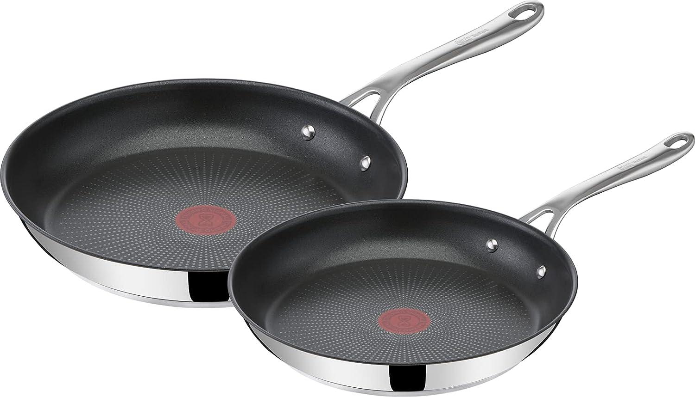 Tefal Jamie Oliver - Juego de 2 Sartenes: 2 Sartenes de 24 y 28 cm de acero inoxidable, sartenes antiadherentes, reforzadas con Titanio, Thermo-Signal, forma profunda, todo tipo de cocinas, libre PFOA