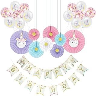 24PCS Unicorn Party Supplies Kit, Happy Birthday Decorations for Girls, Unicorn Ballons,Happy Birthday Banner, Cute Paper Fans for Birthday Decorations, for Girls Birthday Party