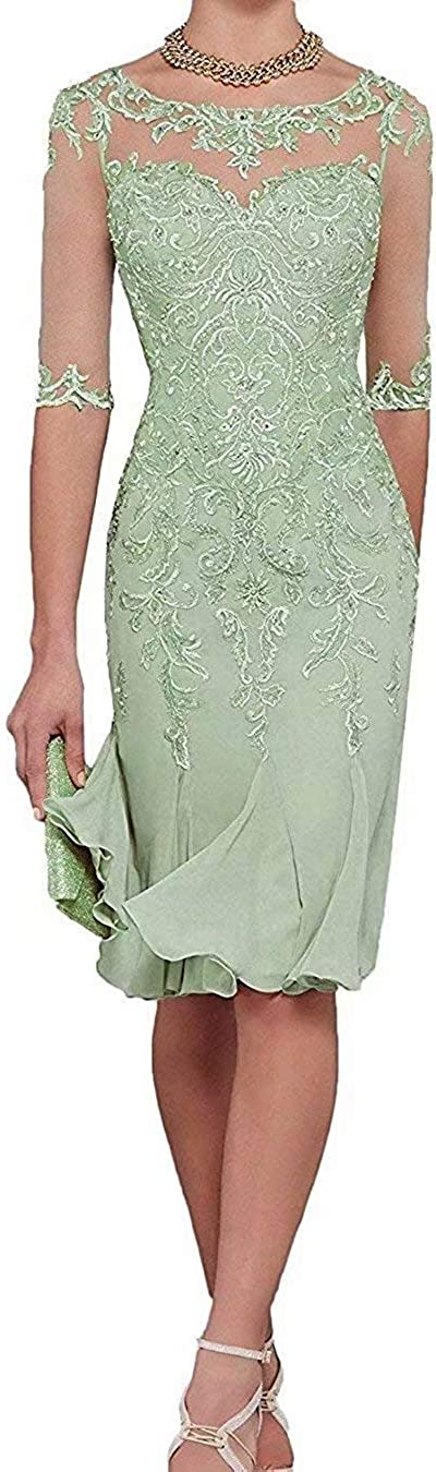 PearlBridal Women's Appliques Tea Length Mermaid Mother of The Bride Dresses Chiffon Formal Prom Dress with 1/2 Sleeves