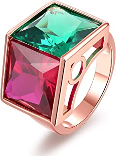 LAZLUVU Women Square Cut CZ Ring White Gold/Rose Gold Plated Engagement Statement Ring Size 6-9