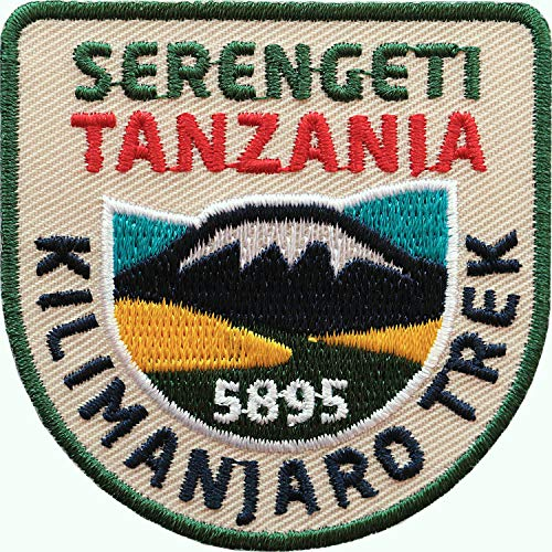 2 x Tansania Kilimanjaro Trek insigne 60 x 60 mm brodé / Tanzania Serengeti park national / Écusson thermocollant pour vêtements sac à dos / guide de voyage Safari Afrique Kilimandaro