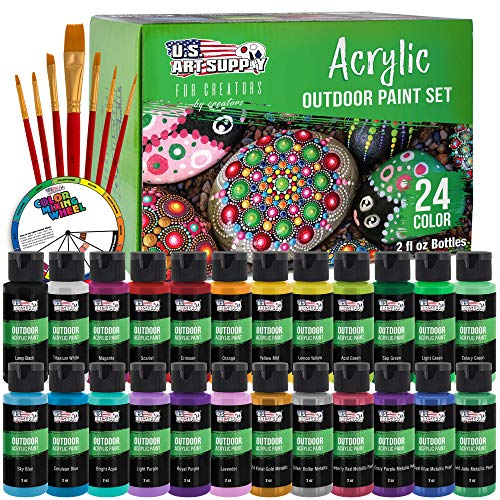 U.S. Art Supply Professional 24 Color Set of Outdoor Acrylic Paint in 2 Ounce...