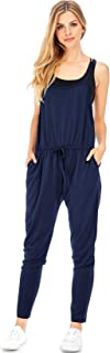 Ambiance Women's Casual Comfy Lounge Jogger Jumpsuit