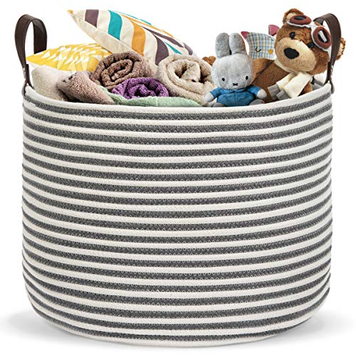 Belvedere Storage Basket - Premium, Large Heavy Duty Rope Basket, Jumbo Size for Laundry, No Slumping, Durable Leather Handles, Natural Woven Cotton Storage for Laundry, Toys & Blankets