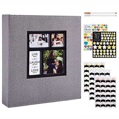 Benjia - Álbum de fotos tradicional autoadhesivo, gran formato en blanco, autoadhesivo, tejido con adhesivo para 10 x 15, 11,5 x 15 y 13 x 18 (50 hojas/100 páginas), color gris