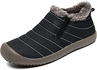 Apostasi Men Boots Waterproof Comfortable Boots, Lightweight Fleece Lined Warm Ankle Shoes, Hiking Boots Warm Water Resistant Non Slip Fur Lined Winter Warm Ankle Boots