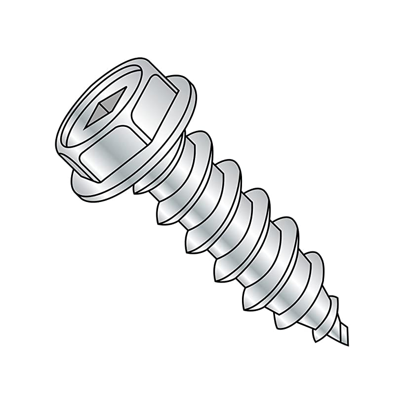 Steel Sheet Metal Screw, Zinc Plated, Hex Washer Head, Square Drive, Type A, #8-15 Thread Size, 1/2