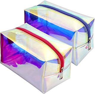 Holographic Makeup Bag, BuyAgain 2 Pack Fashion Iridescent Cosmetic Bag for Girls Women Peach Purple