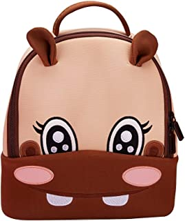 TIMSOPHIA 3D Animal Cute Backpack for Kids, Girls Mini Hippo Backpack Kindergarten Bag Cartoon School Bag Sweet Girls Daughter Gifts (Hippo)