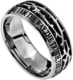 North Arrow Shop John 14:6 Crown of Thorns Ring, Stainless Steel, Christian Bible Verse