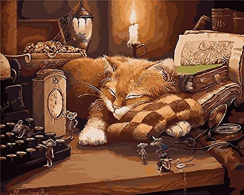 YEESAM ART Neuerscheinungen Malen nach Zahlen für Erwachsene Kinder - Cat Maus Katze Mouse 16 * 20 Zoll Leinen Segeltuch - DIY ölgemälde ölfarben Weihnachten Geschenke (Mit Rahmen)