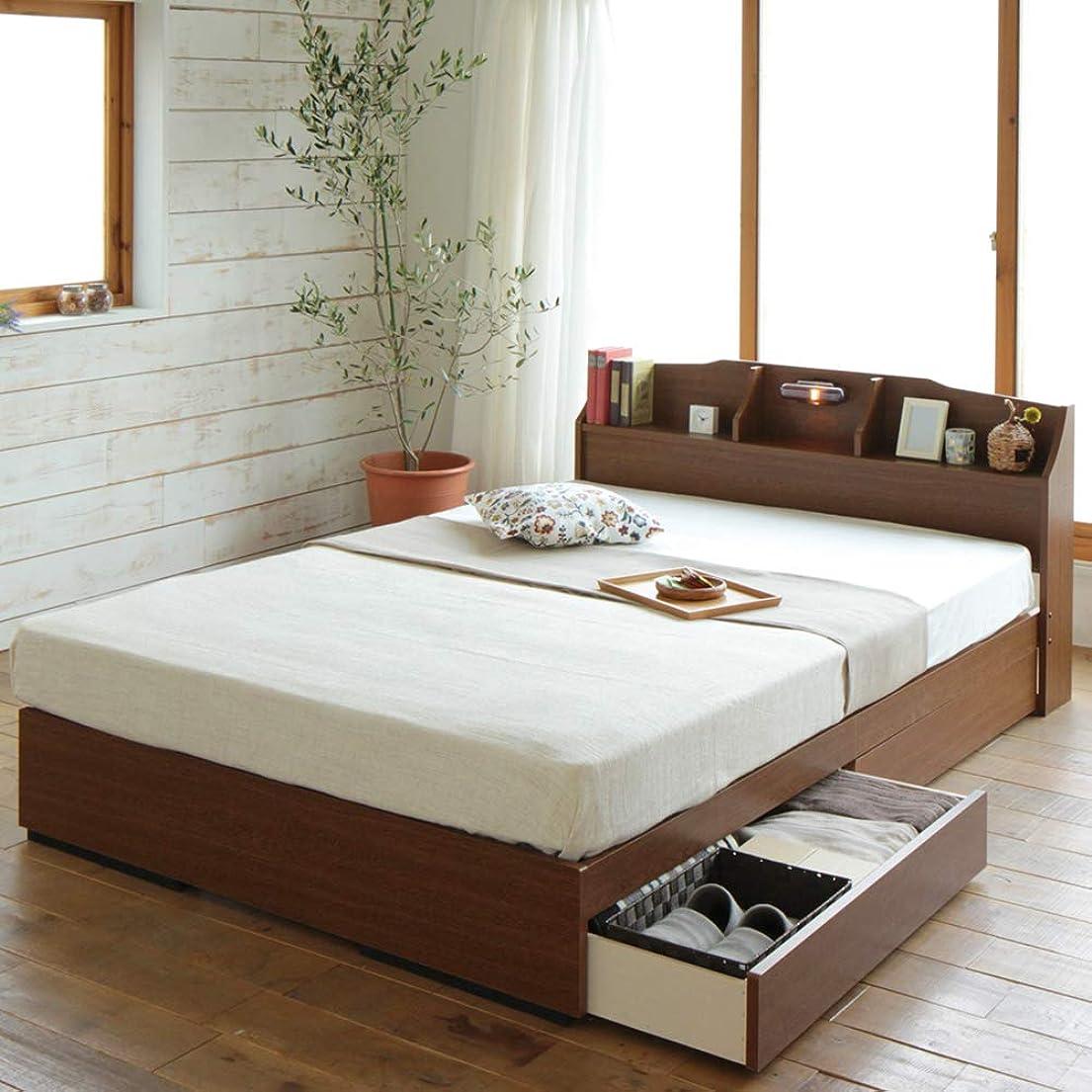 鳴らすチューリップ競争ベッド 『STELA』ステラ 日本製 収納付き 引き出し付き 木製 照明付き 棚付き 宮付き コンセント付き ブラウン セミダブル 海外製ポケットコイルマットレス付き