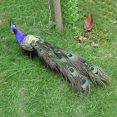Pavo real artificial Yalatan, adornos de decoración de mesa casera de jardín, aves artesanales