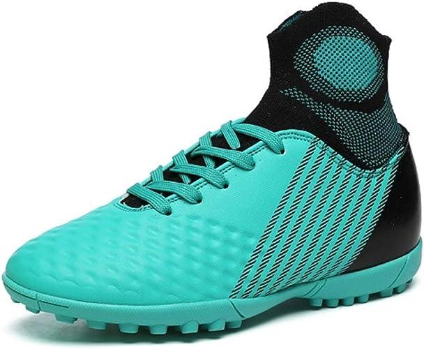 DDSHYNH Chaussures de Football d'enfants à Crampons, Chaussures de Football de Haut Haut