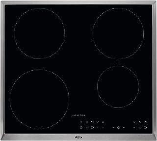 AEG - Placa de cocina (eléctrica, empotrada), 6 elementos de calor, 57,6 cm, función Hob²Hood, indicadores electrónicos para todas las zonas de cocción, color negro 60 cm, ohne Bräterzone Negro