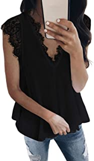 Sponsored Ad - Sidefeel Women Crochet Lace Basic Tank Top Sleeveless Loose Fitting Tunic