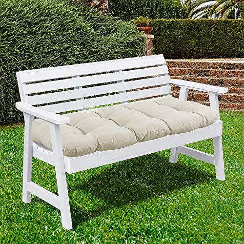 Sweet Home Collection Patio Chair Cushions Outdoor Loveseat Lounge Seat Pads Premium Comfortable Thick Fiber Fill Tufted 44quot x 19quot Cream