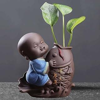 ZLBYB Ceramic Tea Pet Ornaments Small Buddha Statue Monk Figurine Desktop Flower Pot Hydroponic Plant Decoration Tea Acces...