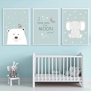 Cuadro en lienzo, póster nórdico, elefante, Luna, arte de pared, póster para bebé, póster de guardería, impresión, cuadros...